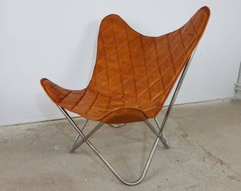 Butterfly Chair Genuine leather chair Relax armchair brown vintage design Loft Lounge