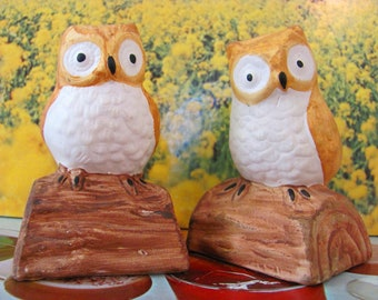 Vintage Owl Salt and Pepper Shakers 1940s Figurines Midwest Country Antique Decor Ceramic Birds Owls Brown and White Shabby Chic Woodland