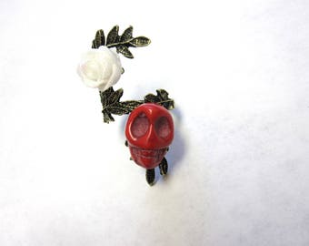 Red Sugar Skull Ring Day of the Dead Jewelry Skull Rose Ring