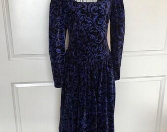 Authentic Vintage Laura Ashley Brushed Velvet Cotton Tea Prairie Dress Blue Black 10