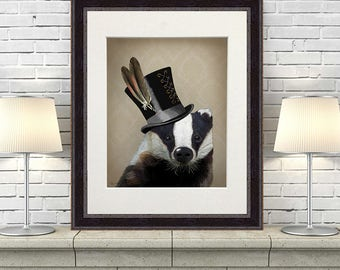 Badger lover gift european badger badger decor - Badger in Top Hat - badger gift badger painting badger illustration badger art badger print