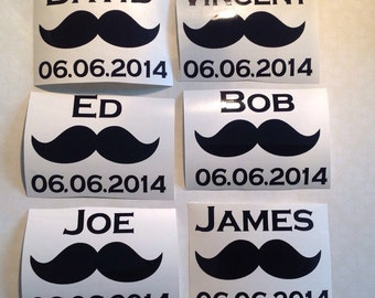 Set of 6 Mustache  Wedding Beer Glass Vinyl Decals/Stickers, Mustaches, Titles & Names, Make Your Own Wedding Glasses