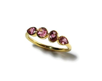 Pink Tourmaline 4 Stone Ring in 14K Gold, Made to Order