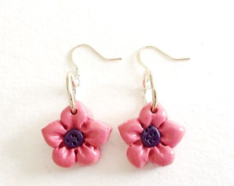 Flower Earrings - Small pink and purple floral polymer clay dangle earrings