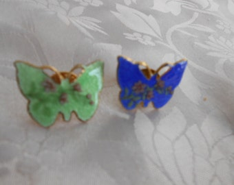 Vintage cloisonne enamel royal blue and mint green floral butterfly pins, 2 brooch lot, vintage jewelry