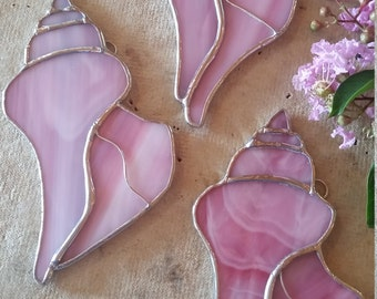 Stained glass pink seashell Unique design. Beach time all the time! Gift, home decor. Suncatcher. Garden.