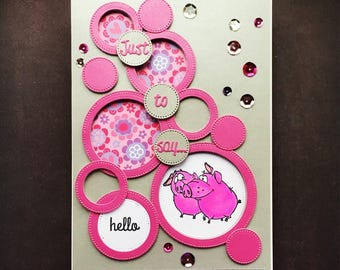 3D hello card with cute pigs - dimensional designer card in pink and grey - 3D card cute - lovely card with cute animals