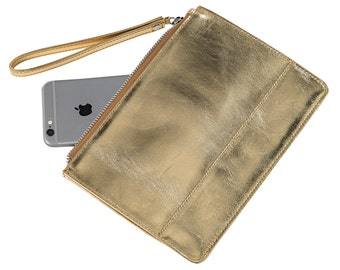 Leather pouch with hand strap
