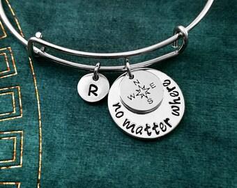 No Matter Where Bracelet Compass Bracelet Long Distance Relationship Travel Initial Charm Bracelet Adjustable Bangle Personalized Bangle