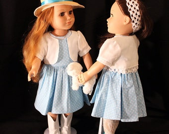 "Light Blue Summer Dress with Bolero & Doll Pet Too; Summer Outfit; for American Girl Style 18"" Dolls! School or Dress Up Doll Clothes"