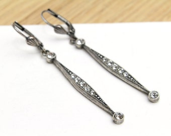 Vintage Dangle Stick Earrings in Antique Silver with Clear Swarovski Crystals Earrings for Her, Gift ideas, Jewelry, Dangle Earrings