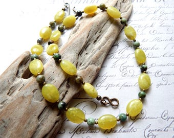 Olivine Peridot and African Turquoise Necklace - Beaded Gemstone Necklace - Oval and Round Bead Necklace - 19 Inch Necklace