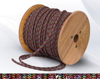 Multicolor zig zag round textile cable
