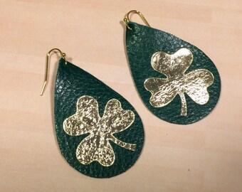 Irish earrings, green Irish teardrop earrings, sports earrings, cloverleaf earrings