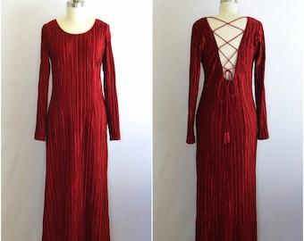 90s Grunge Velvet Dress/ 1990s Max Mara Lace Up Dress/ Goth Midi Dress/ Womens Size Medium
