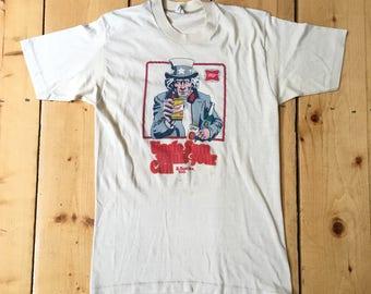 Rare Vintage des années 1970, la bière Miller oncle Sam veut vos canettes & bouteilles trop Pop Art recyclage Promo T shirt imprimé - Fits adulte moyen