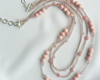 Pink Opal and Swarovski necklace