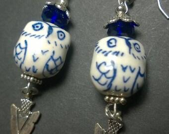 Ceramic Blue Owl Earrings