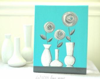 Contemporary Modern Minimalist Art, White Grey Gray Aqua, Roses, Vase, 8x10