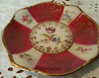 Set Of 3 Art Deco Zeh Scherzer Porcelain  Burgundy And Gold Pin Dishes