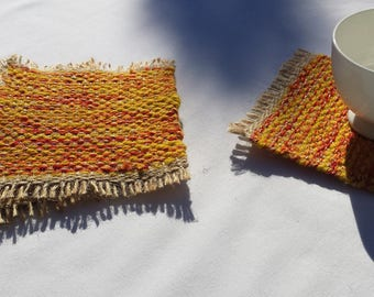 Mug Rugs, upcycled handwoven coasters, yellow, orange, red, gold and beige drink coaster gift set