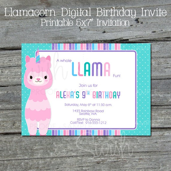 Llamacorn Birthday Invitation Rainbow Birthday Invite