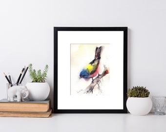 Colourful Bird ORIGINAL Watercolor Painting, Bunting Bird Painting, Bird Art, Painting of Bird