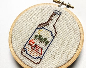 Camping Beer Bottle. Backstitched and Mini!
