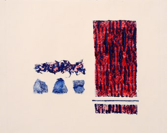 Abstract III Print (red & blue) - Collagraph