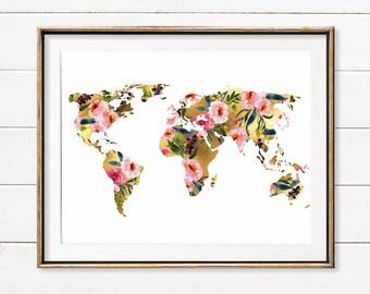 Flower world Map Wall Art, Gift For Her, Wanderlust, Travel Art, Flower world Map, Pink Gold Nursery, Floral World Map, Teen Girl Gift