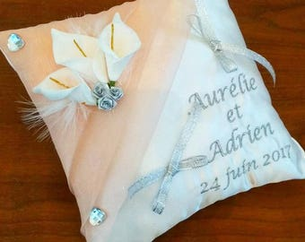 Holder / wedding pillow: the lilies in peach Pink salmon