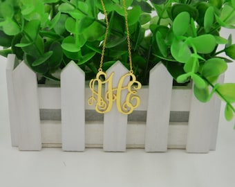 """Monogram gold necklace,1""""monogrammed necklace,sterling silver plated 18K gold,gift for bestfriend"""
