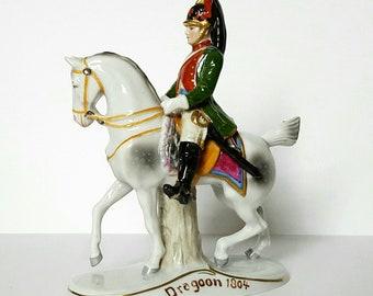 Antique Sitzendorf Porcelain Napoleonic Soldier on Horse, Dragoon 1804 German Figurine, Collectible Porcelain Horse figurine