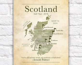 Golf Gift, Gifts for Golf Lovers, Scotland Golf Tour, Scottish Map, Golf Quotes, Dad Gift, Christmas, Boss, Gift for Coworker, Office Art