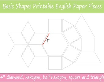 "4"" Printable Basic Shapes for English Paper Piecing 