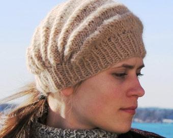 Lily, a hat knitted sideways. PDF knitting pattern