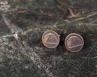taco earrings | stud earrings | taco studs | etched copper studs | jewelry for her
