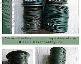 0.5mm Opaque Blue Green Shades Two Yards or more, .5mm round Leather Cord, Leather cord, Small Leather Cord, Leather, Thin Leather Cord