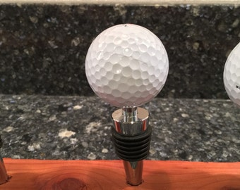 Golf ball wine stopper.  A hole in one gift, Golfer gift, gift for golfers, 19th hole, wine stopper, golf ball, wine gifts