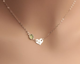 heart initial and birthstone necklace, sterling silver heart initial and birthstone necklaced, heart initial mothers necklace, heart initial