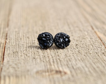 Druzy Earrings.  Black druzy earrings.  Bridesmaids gift idea.