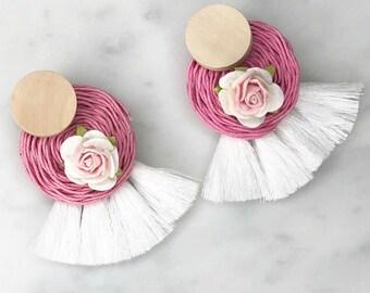 Pink and white flower tassel statement earrings
