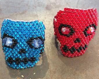 Beaded Skull Rings, Blue or Red
