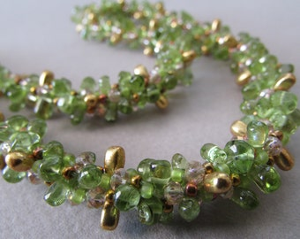 Peridot Garden Kumihimo Necklace with Gold Filled Toggle
