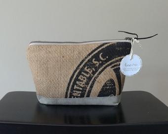 Handmade Black Dot Burlap Zipper Case - toiletry bag - repurposed coffee sack - upcycled - makeup - cosmetic pouch - organic jute