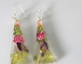 Purple Rosebud,  Real Flower Earrings,  Pressed Flower Jewelry,  Resin (3120)