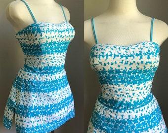 Vintage 1950's Aqua and White Floral Rose Marie Reid Swimsuit Bathing Suit Size Small Medium