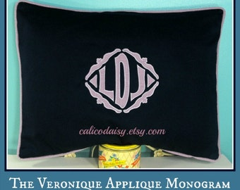 The Veronique Applique Framed Monogrammed Pillow Sham - Standard 20 x 26