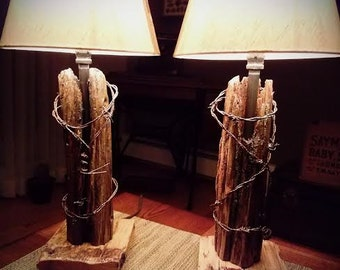1800s Fence Post with Barbed Wire Lamps