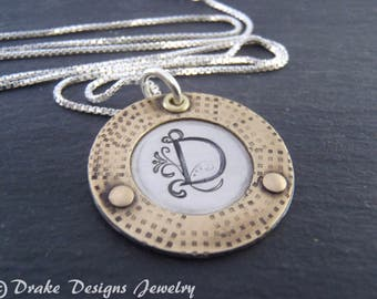 Rustic  initial necklace sterling silver and brass personalized jewelry birthday gift for her